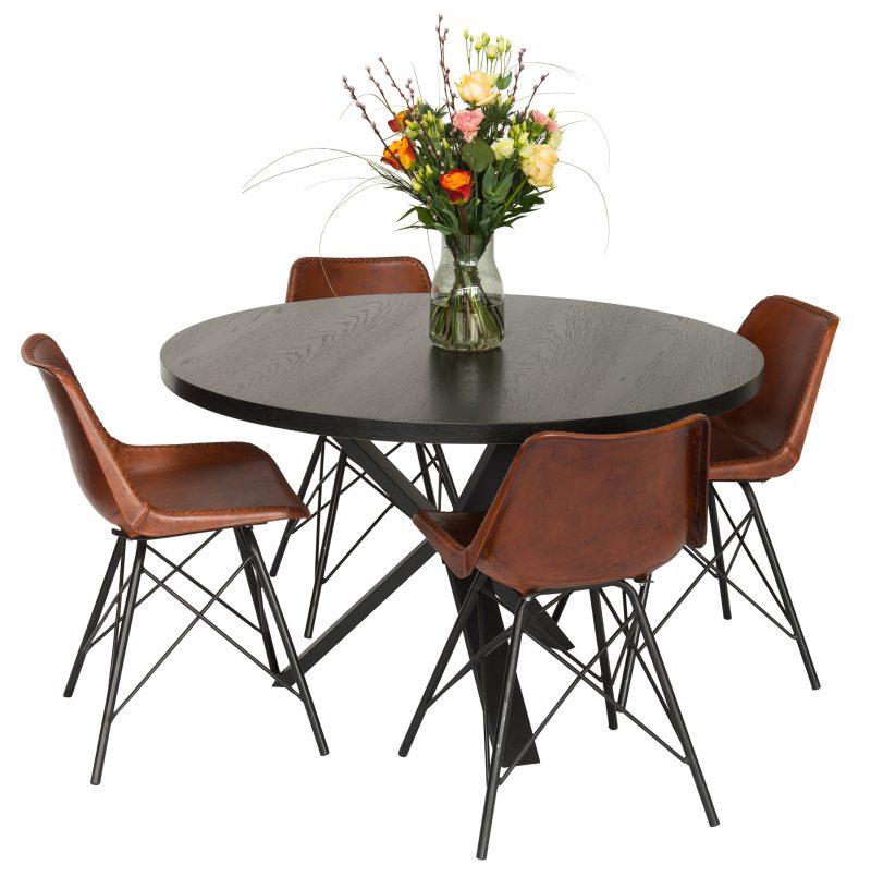 Rund bord i sort eg