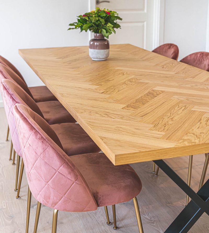 Sildebens plankebord i natur olieret egetræ